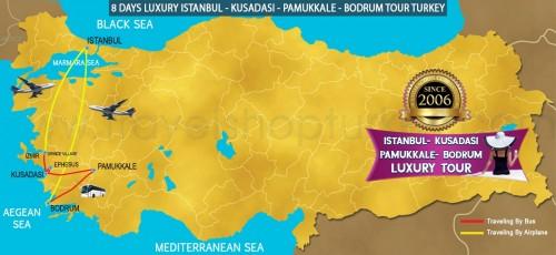 8 DAY LUXURY ISTANBUL - KUSADASI - PAMUKKALE - BODRUM TOUR TURKEY