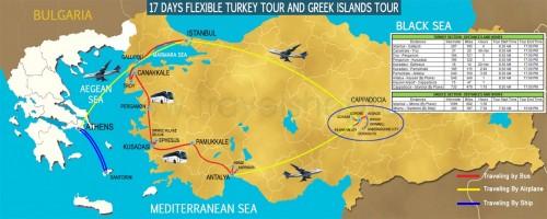 17 DAY FLEXIBLE TURKEY TOUR AND GREECE ISLANDS TOUR